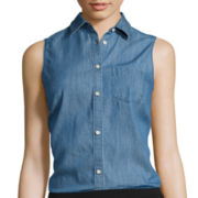 St. John's Bay® Sleeveless Button-Front Shirt