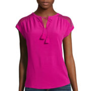 St. John's Bay® Short-Sleeve Tie-Front Peasant Top