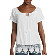 St. John's Bay® Lace Hem Peasant Blouse