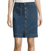 St. John's Bay® Straight Denim Skirt