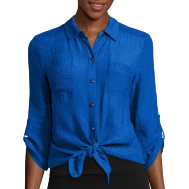 jcpenney.com | Alyx® 3/4-Sleeve Tie-Front Gauze Woven Top