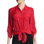 Alyx® 3/4-Sleeve Gauze Solid Woven Top