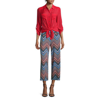 jcpenney.com | Alyx® Gauze Solid Woven Top or Print Gaucho Pants