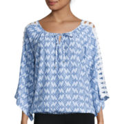 Alyx® Crochet Long-Sleeve Printed Gauze Top