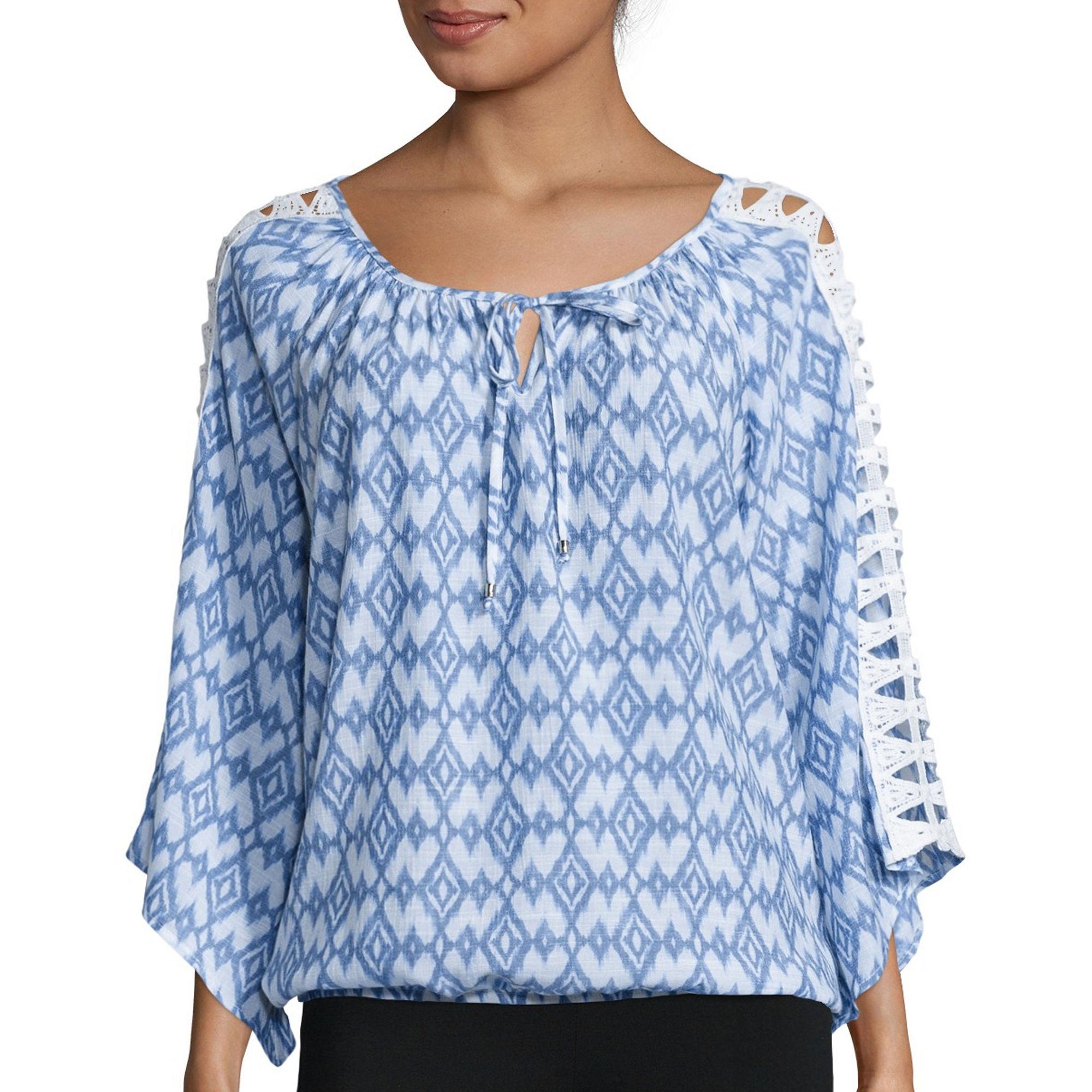 Alyx Crochet Long-Sleeve Printed Gauze Top plus size,  plus size fashion plus size appare