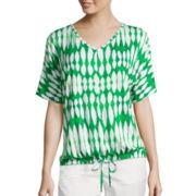 Liz Claiborne® Dolman-Sleeve Drawstring Kaftan Tee