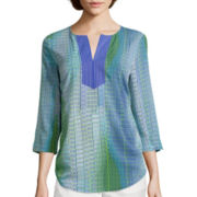 Liz Claiborne® 3/4-Sleeve Printed Pullover Top