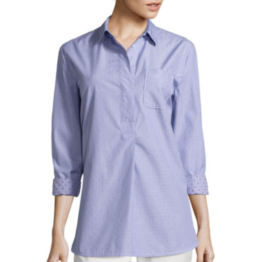 jcpenney.com | Liz Claiborne® Long-Sleeve Stripe Clip Dot Tunic Shirt - Tall