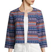 Liz Claiborne® 3/4-Sleeve Jacquard Jacket - Tall