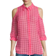 I 'Heart' Ronson® Roll-Cuff Gingham Cold-Shoulder Shirt