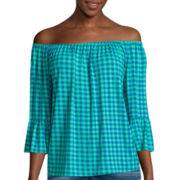 I 'Heart' Ronson® 3/4-Sleeve Gingham Bardot Jersey Top