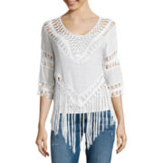 I 'Heart' Ronson® Elbow-Sleeve Crochet Fringe Top