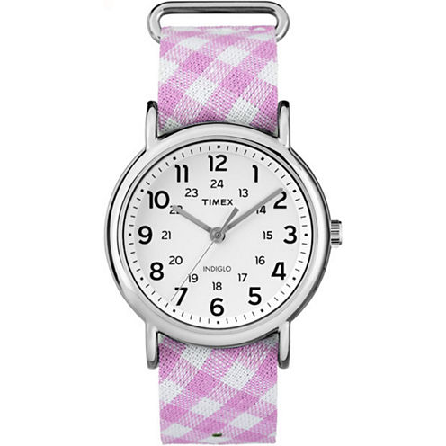 Timex Weekender Womens Pink Strap Watch-Tw2r242009j