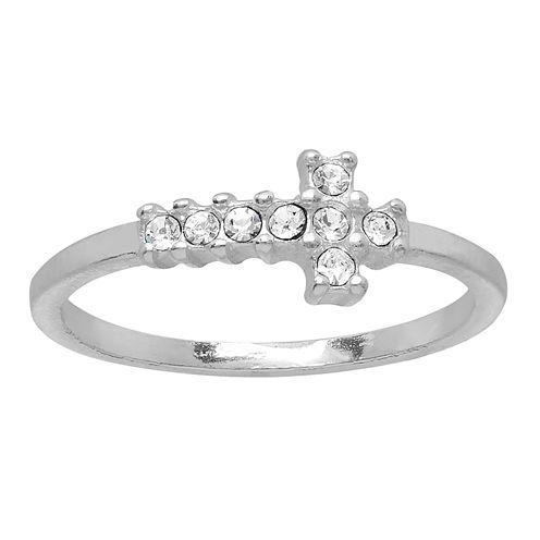itsy bitsy™ Sterling Silver Crystal Horizontal Cross Midi Ring