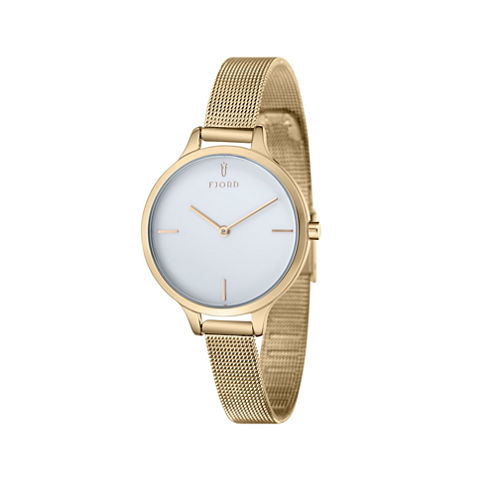 Fjord Mesh Band Womens Gold Tone Expansion Watch-Fj-6027-33