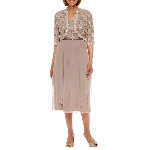 R & M Richards 3/4 Sleeve Lace Jacket Dress-Petites