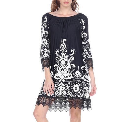 White Mark Uniss 3/4 Sleeve Paisley Sheath Dress