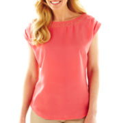 Worthington® Embellished-Neck Top