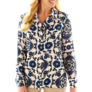 Worthington® Long-Sleeve 100% Silk Blouse
