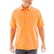 St. John's Bay® Crosshatch Vintage Button-Front Shirt