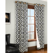 Trellis Grommet-Top Thermal Cotton Curtain Panel Pair