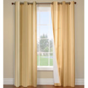 Weathermate Broadstripe Grommet-Top Thermal Cotton Curtain Panel Pair