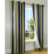 Weathermate Broadstripe Grommet-Top Thermal Cotton Curtain Panel Pair