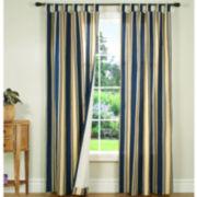 Weathermate Broadstripe Tab-Top Thermal Cotton Curtain Panel Pair