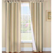 Weathermate Broadstripe Tab-Top Thermal Cotton Curtain Panel Pair