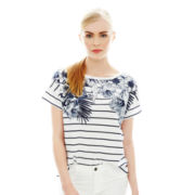 Joe Fresh™ Short-Sleeve Floral Striped Tee