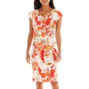Liz Claiborne Cap-Sleeve Cutout Floral Sheath Dress