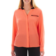 Worthington® Long-Sleeve Faux-Silk Shirt - Plus
