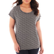 Liz Claiborne Short-Sleeve Boatneck Tee - Plus