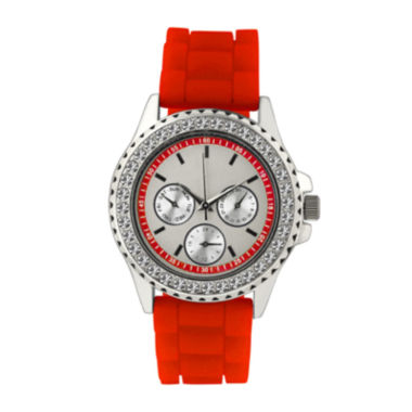 jcpenney.com | Womens Crystal Accent Red Silicone Bracelet Watch