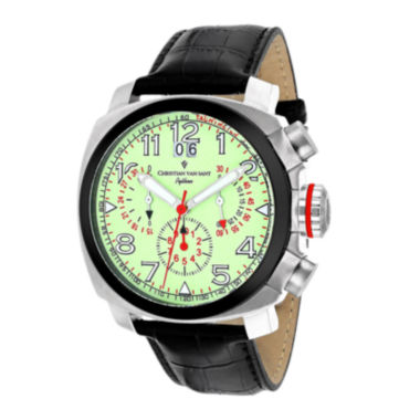 jcpenney.com | Christian Van Sant Grand Python Mens Black & Green Leather Strap Watch