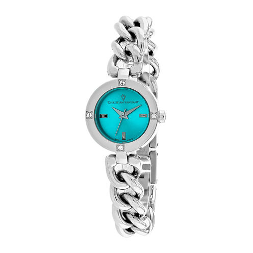 Christian Van Sant Sultry Womens Blue Dial and Silver-Tone Bracelet Watch