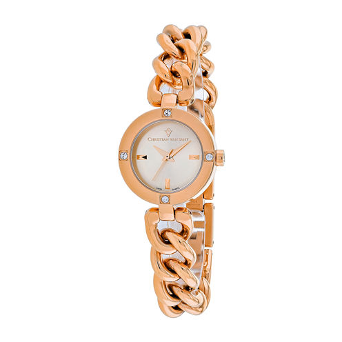 Christian Van Sant Sultry Womens Rose-Tone Bracelet Watch