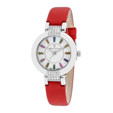 jcpenney.com | Christian Van Sant Celine Womens Silver-Tone Dial and Red Leather Strap Watch