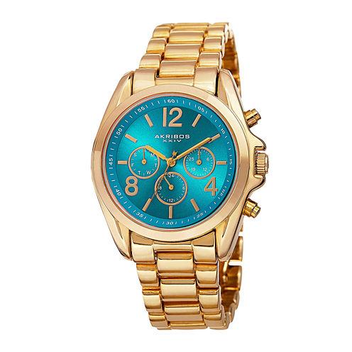 Akribos XXIV Womens Turqoise Dial Gold-Tone Bracelet Watch