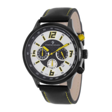 jcpenney.com | Christian Van Sant Speedway Mens Black Leather Strap Watch