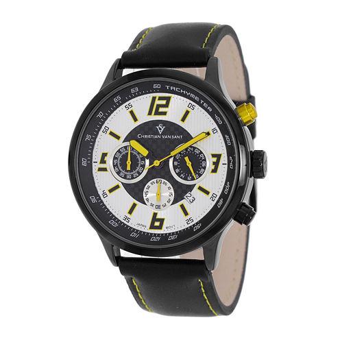Christian Van Sant Speedway Mens Black Leather Strap Watch