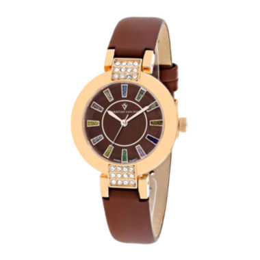 jcpenney.com | Christian Van Sant Celine Womens Brown Leather Strap Watch