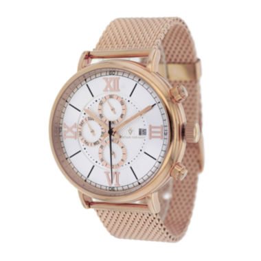 jcpenney.com | Christian Van Sant Somptueuse Mens White Dial Rose-Tone Stainless Steel Bracelet Watch