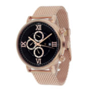 Christian Van Sant Somptueuse Mens Black Dial Rose-Tone Stainless Steel Bracelet Watch