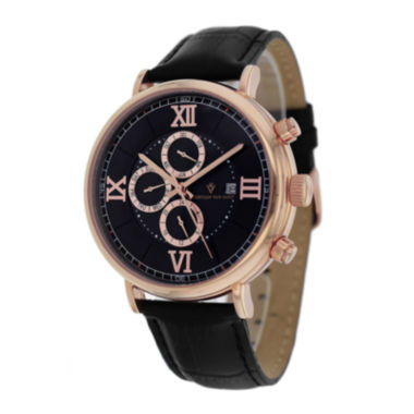 jcpenney.com | Christian Van Sant Somptueuse Mens Black Leather Strap Watch