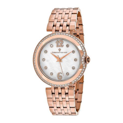 Christian Van Sant Jasmine Womens Rose-Tone Bracelet Watch