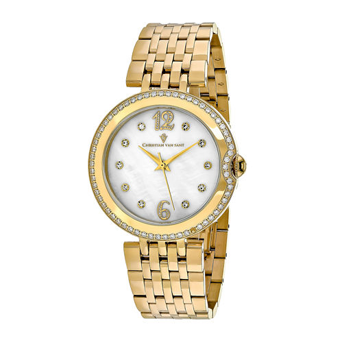Christian Van Sant Jasmine Womens Mother-of-Pearl and Gold-Tone Bracelet Watch