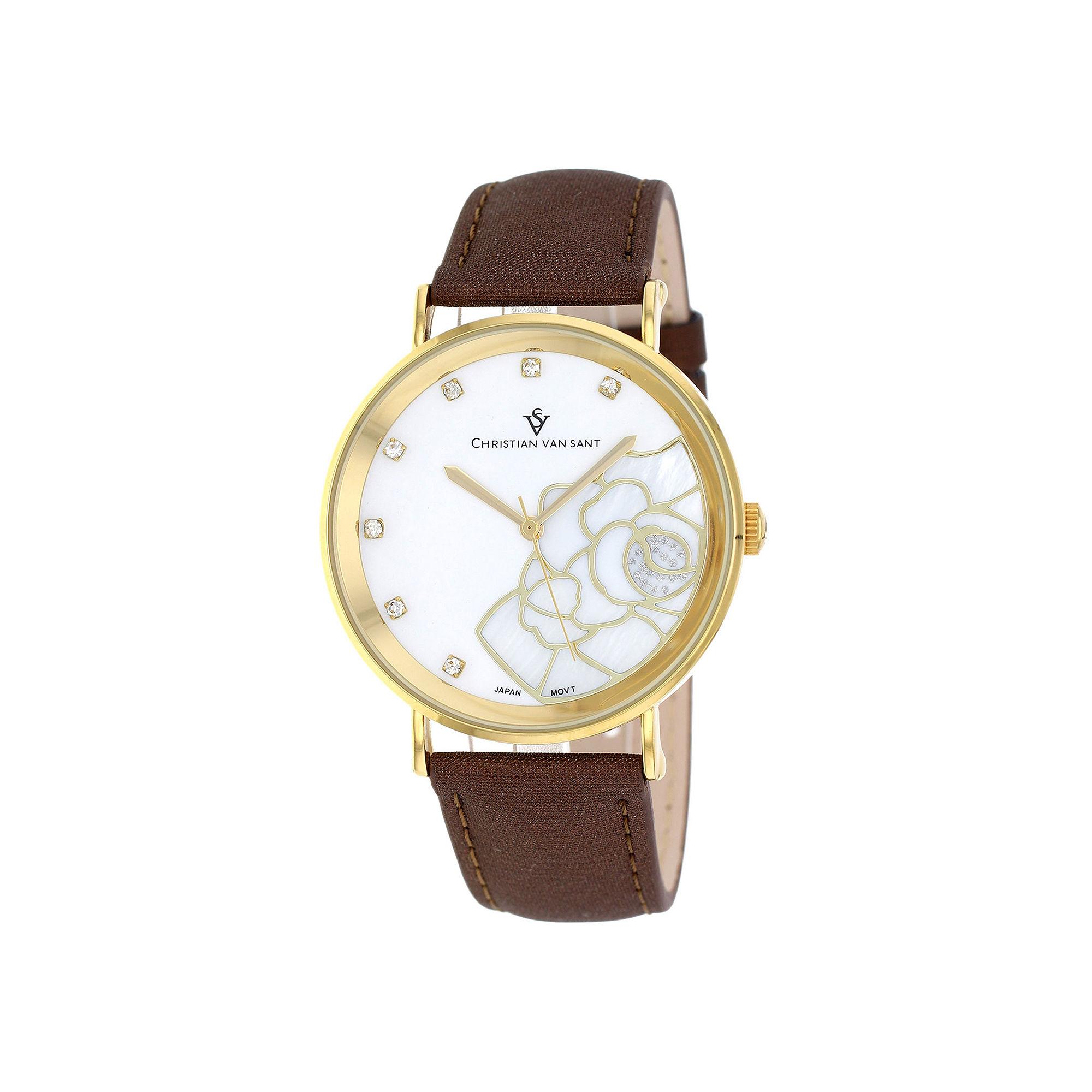 Christian Van Sant Fleur Womens Mother-of-Pearl Brown Leather Bracelet Watch