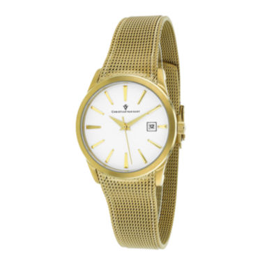 jcpenney.com | Christian Van Sant Skin Womens White Dial and Gold-Tone Bracelet Watch