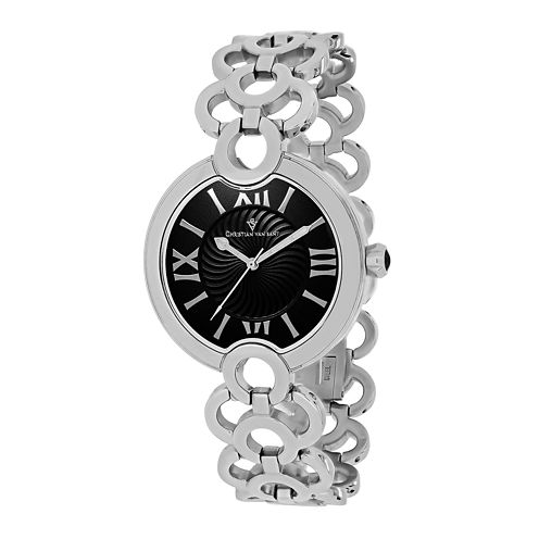 Christian Van Sant Twirl Womens Black Dial and Silver-Tone Bracelet Watch